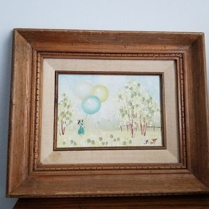 Vintage raised texture painting girl balloons aqua